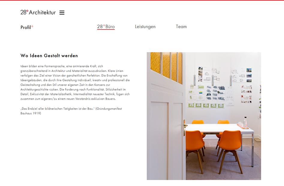 Profilseite der 28° Architektur Website, die einen Einblick in die Firma gibt