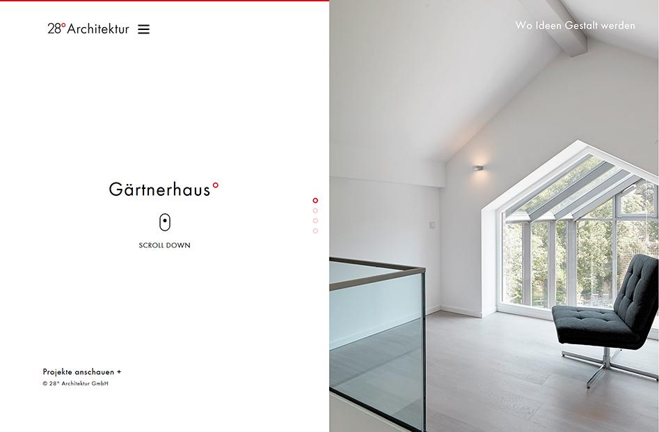 Startseite der 28° Architektur Website, zeigt Previews zu Projekten der Architektur-Firma