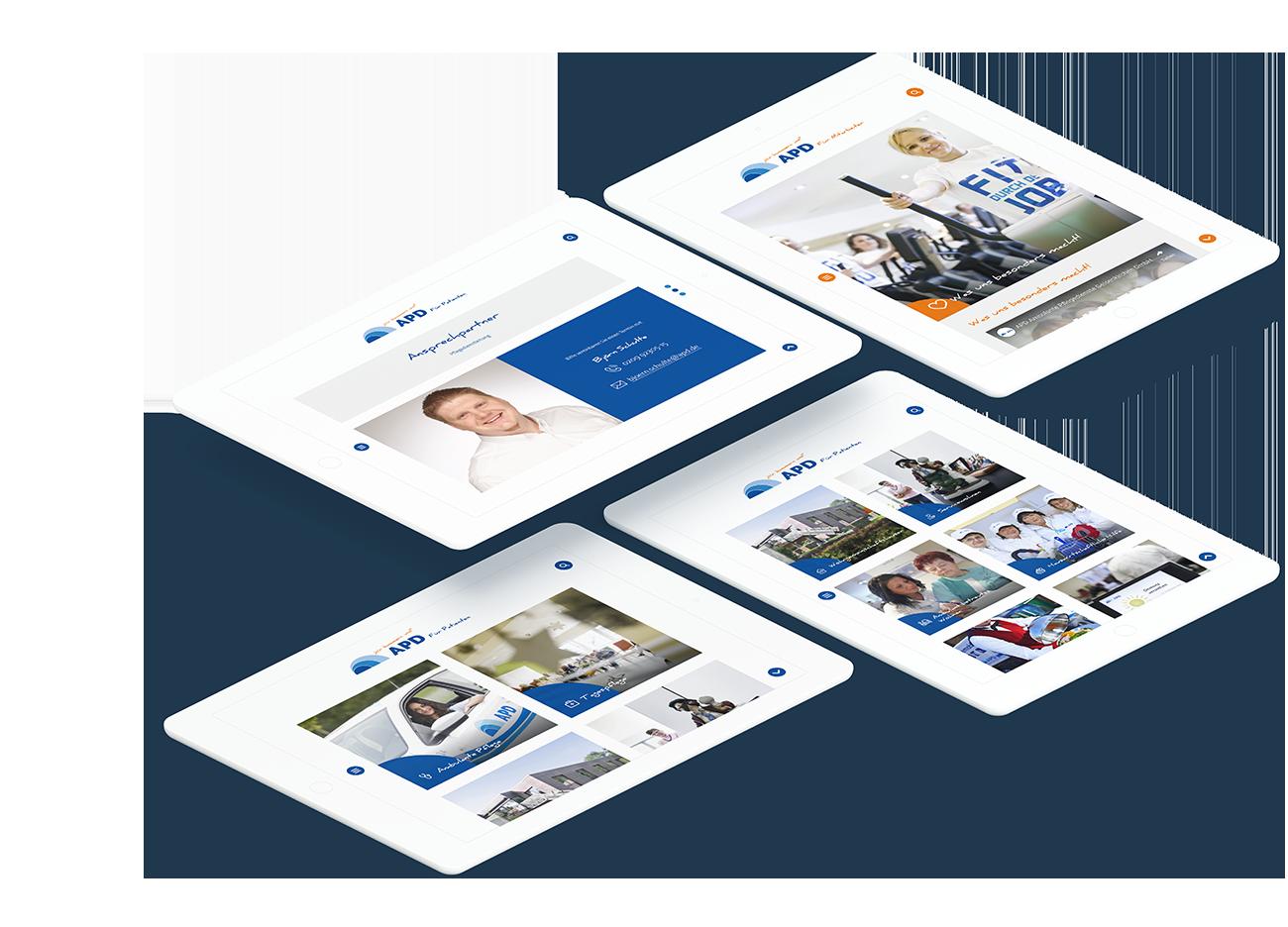 Mehrere weiße Tablets zeigen unterschiedliche Seiten der APD Website um die modulare Gestaltung hervorzuheben