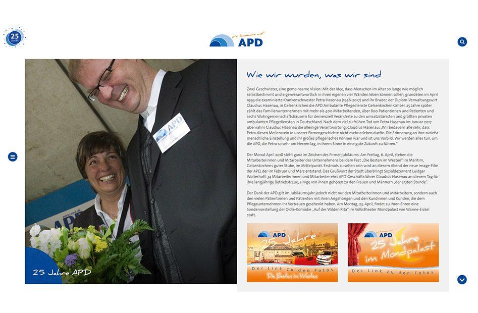 Unterseite zur Firmengeschichte anlässlich des 25. Jubiläums von APD