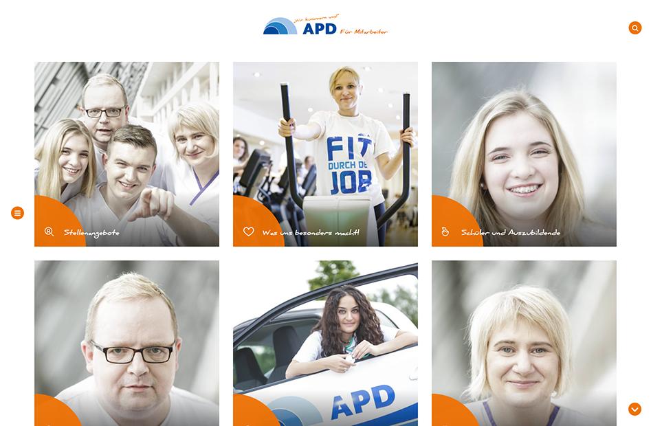 Übersichtsseite zu verschiedenen Kategorien auf der APD Website
