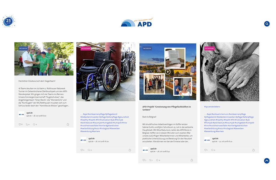 Unterseite zum Thema Pflege auf der APD Website
