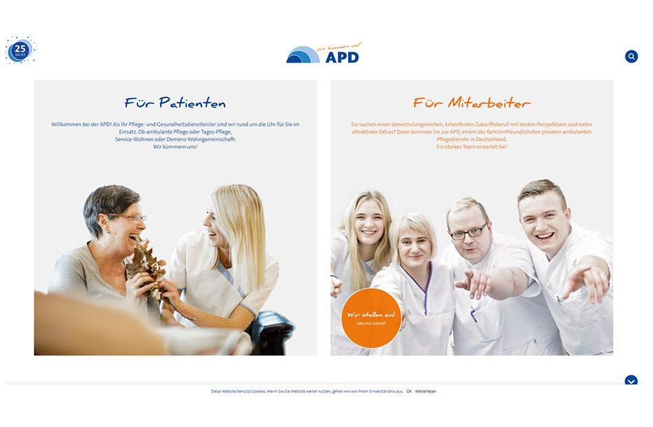 Landingpage der APD Website
