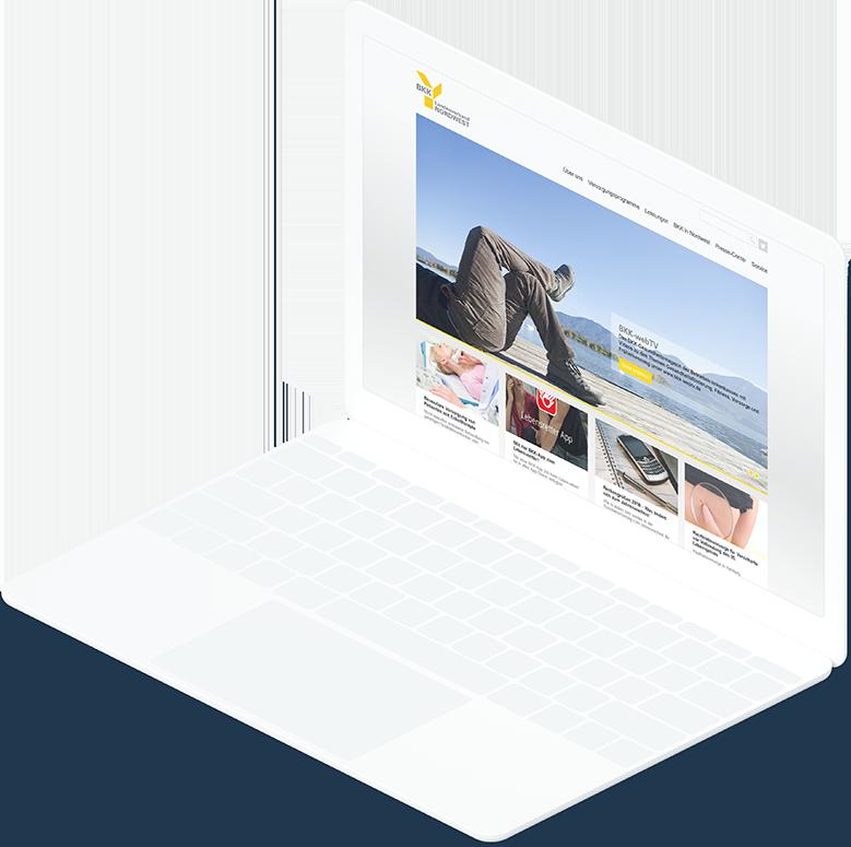 Weißes Laptop zeigt die Startseite der BKK-Nordwest Website