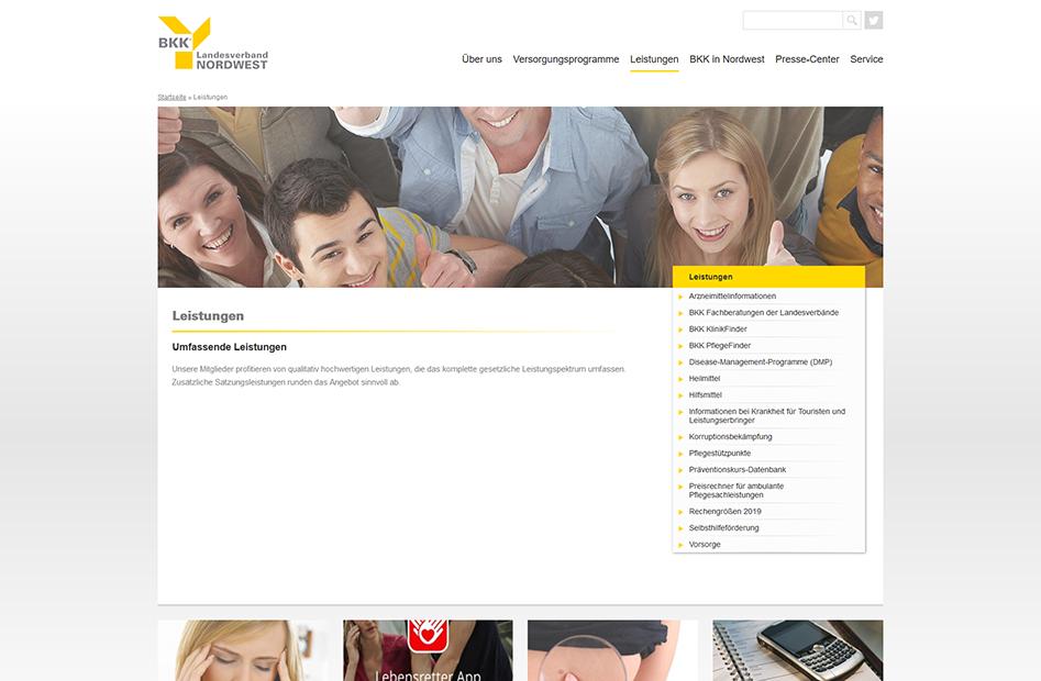 Leistungen-Übersichtsseite der BKK-Nordwest Website