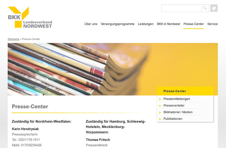 Presse-Center Seite der BKK-Nordwest Website