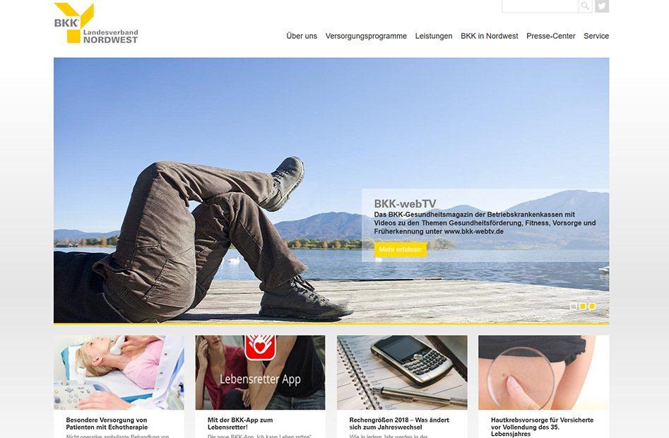 Startseite der BKK-Nordwest Website