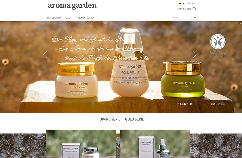 Startseite der Aromagarden Website