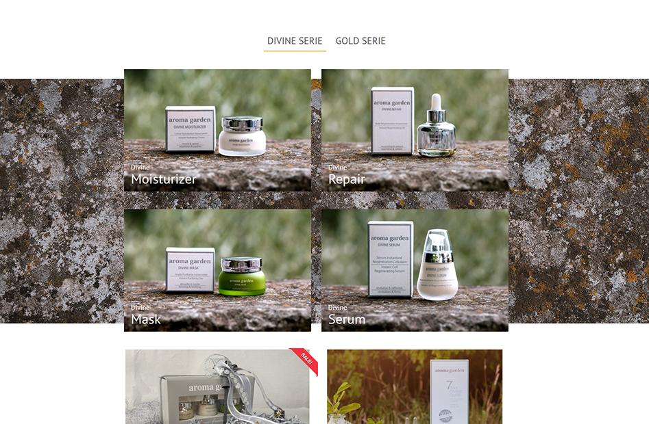 Shop-Seite von Aromagarden, welche Produkte mit großen Bildern besonders herausstellt