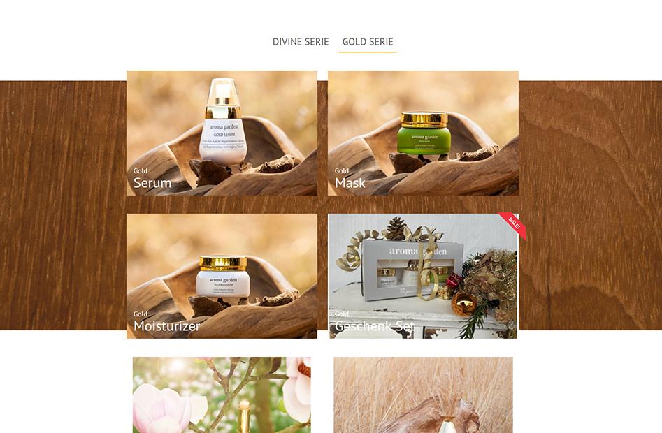 Weitere Shop-Seite von Aromagarden, welche Produkte mit großen Bildern besonders herausstellt