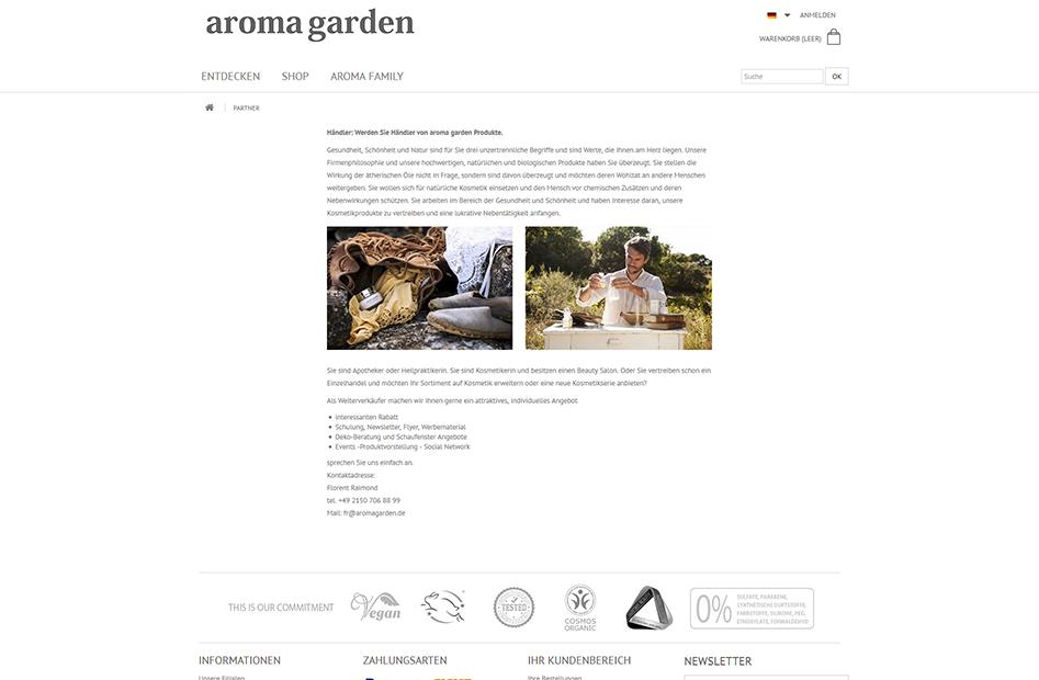 Seite für ein Partnerschaftsprogramm zwischen Aromagarden und Händlern