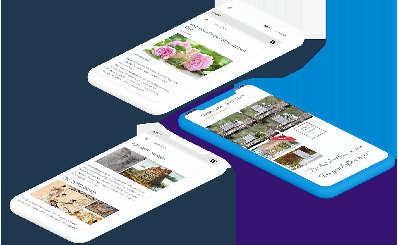 Zwei weiße und ein blaues Smartphone zeigen jeweils verschiedene Seiten der Aromagarden Website