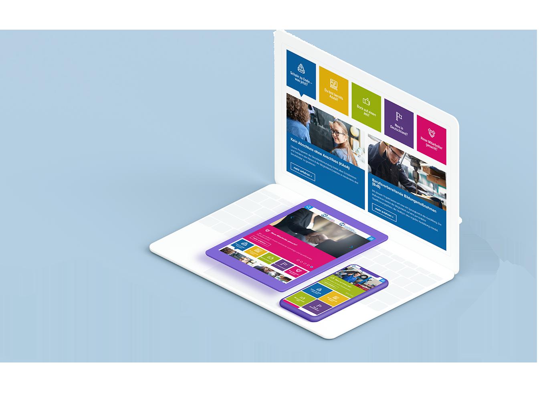 Weißes Laptop, lila Tablet und lila Smartphone zeigen verschiedene Seiten der Bildungszentrum Handwerk Duisburg Website