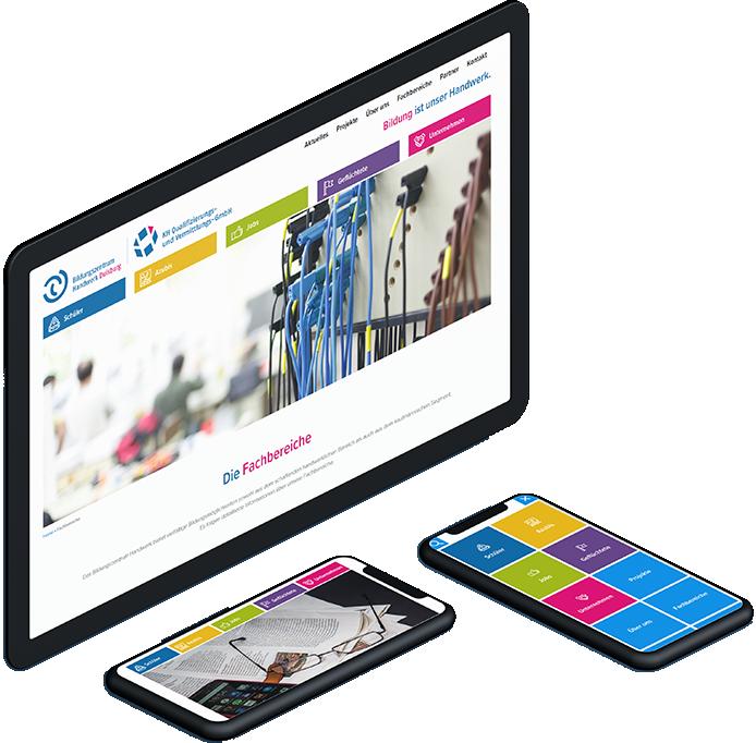 Großer Computermonitor, Tablet und Smartphone zeigen die Zielgruppen Navigation auf der Bildungszentrum Handwerk Duisburg Website in Aktion