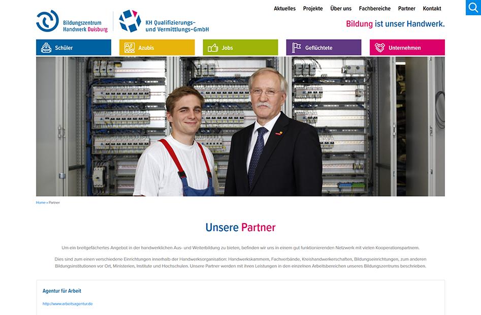 Partner Unterseite der Bildungszentrum Handwerk Duisburg Website