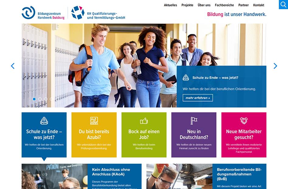 Startseite der Bildungszentrum Handwerk Duisburg Website