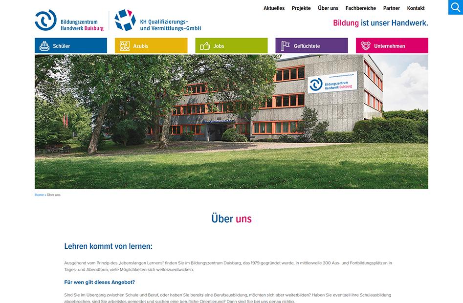 Über uns Seite der Bildungszentrum Handwerk Duisburg Website