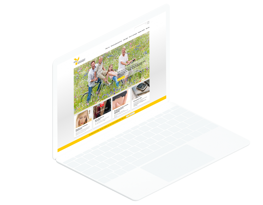 Weißes Laptop zeigt Startseite der BKK-Nordwest Website