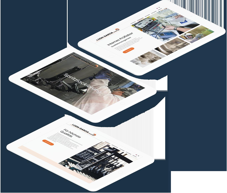 Drei weiße Tablets zeigen jeweils unterschiedliche Seiten der I. CON GARCIA Website