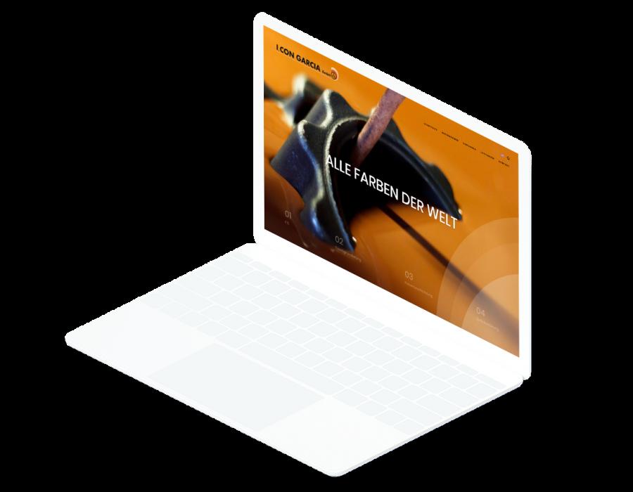 Weißes Laptop zeigt die Startseite der I. CON GARCIA Website an