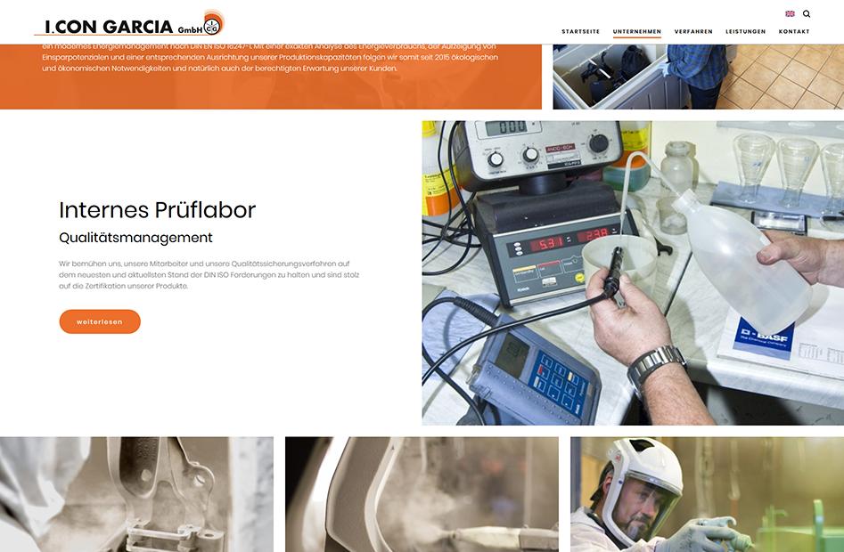 Seite des internen Prüflabors für Qualitätsmanagement der I. CON GARCIA Website