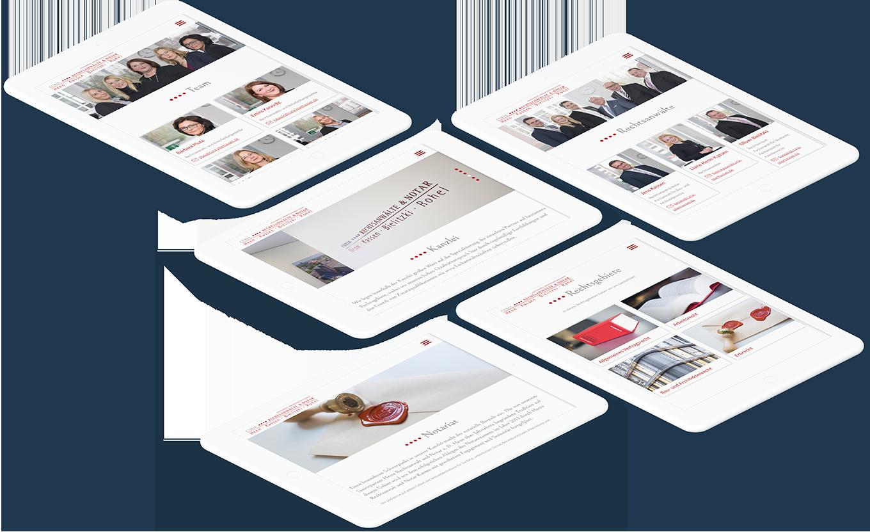 Mehrere weiße Tablets zeigen verschiedene Seiten der CURIA Rechtsanwälte & Notar Website