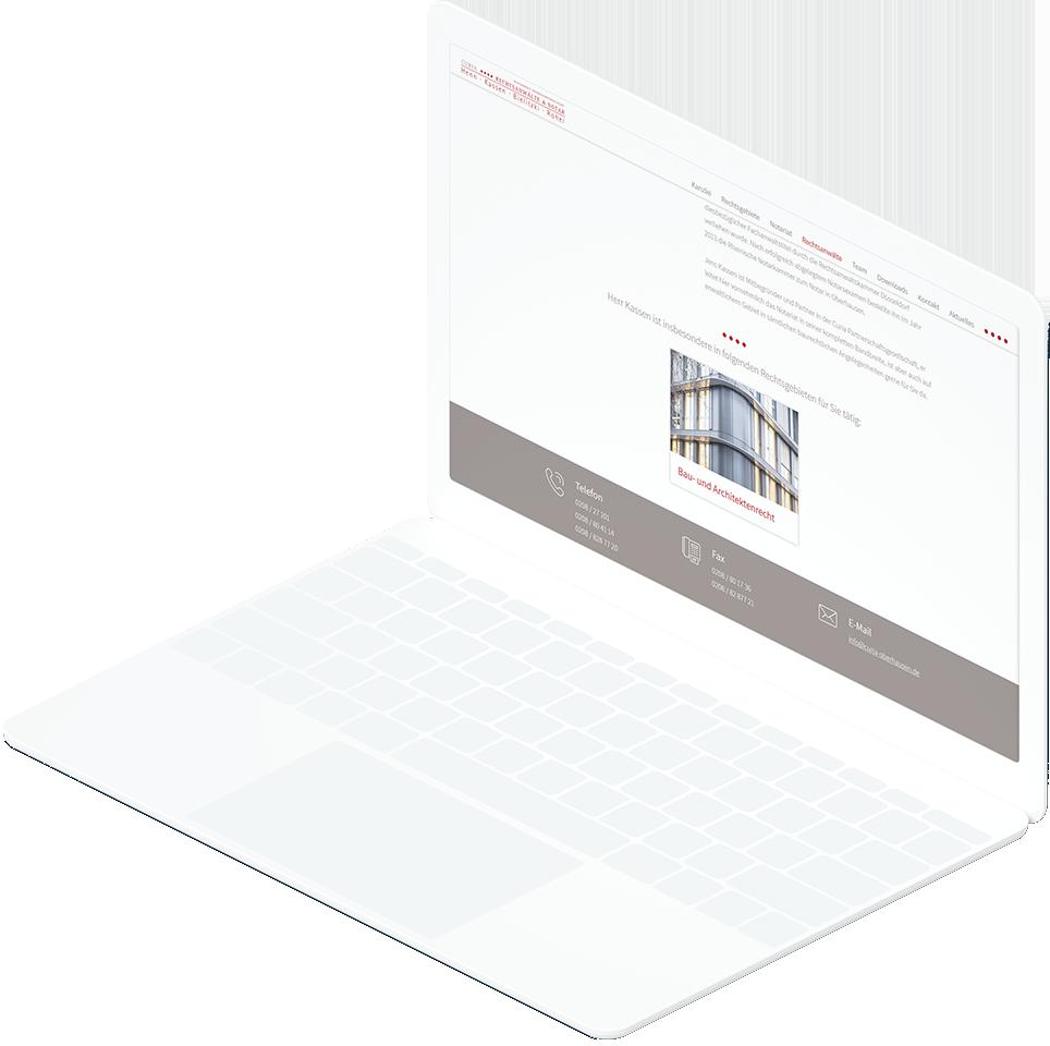 Weißes Laptop zeigt Detailseite zu Rechtsanwalt mit dazu passendem Rechtsgebiet auf der CURIA Rechtsanwälte & Notar Website