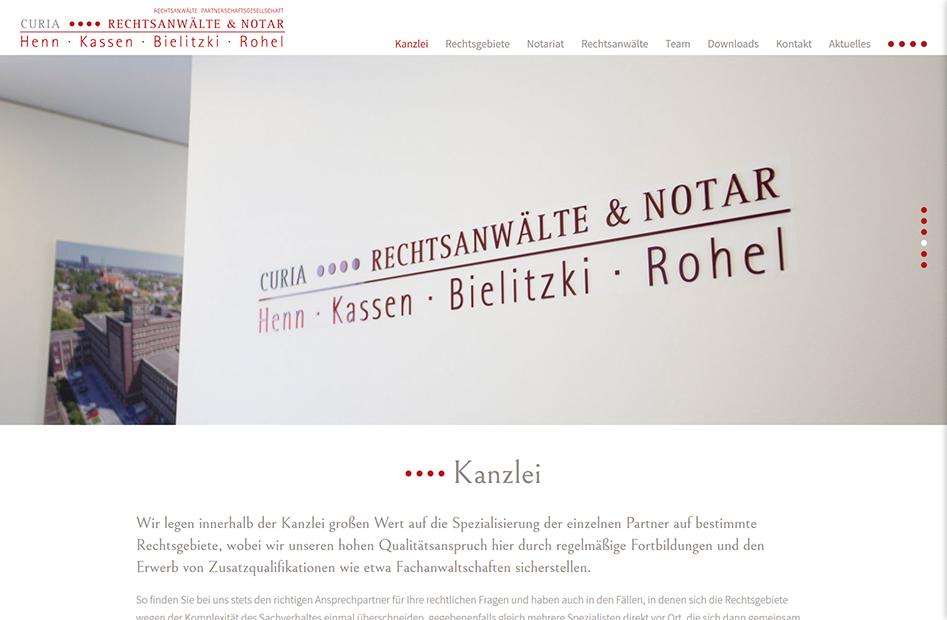Kanzlei-Seite der CURIA Rechtsanwälte & Notar Website
