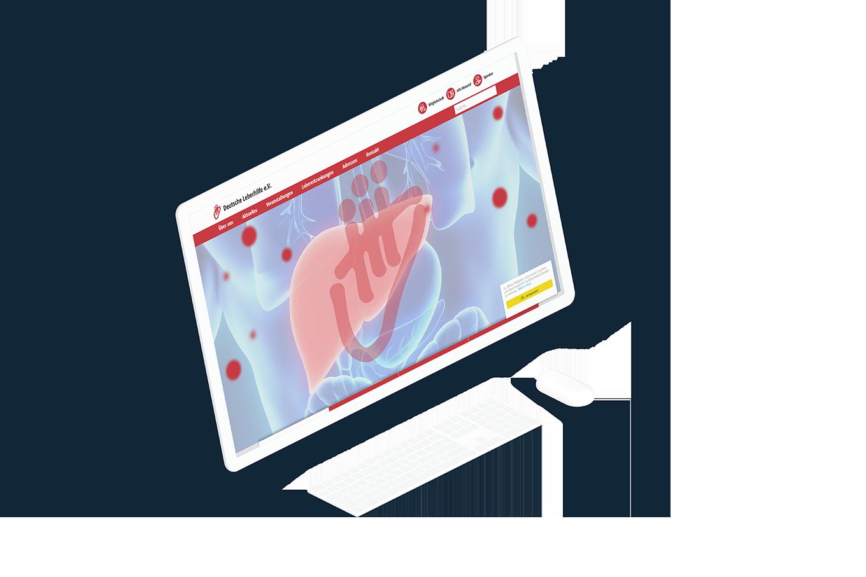 Großer weißer Computerbildschirm zeigt den Bildwechsler der Startseite der Deutsche Leberhilfe Website in Aktion