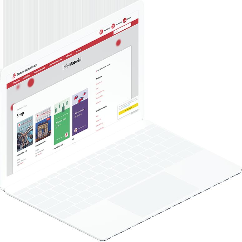 Weißes Laptop zeigt WooCommerce-Shop Seite der Deutsche Leberhilfe Website