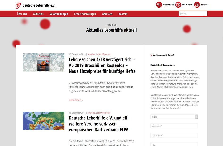 Aktuelles Unterseite der Deutsche Leberhilfe Website