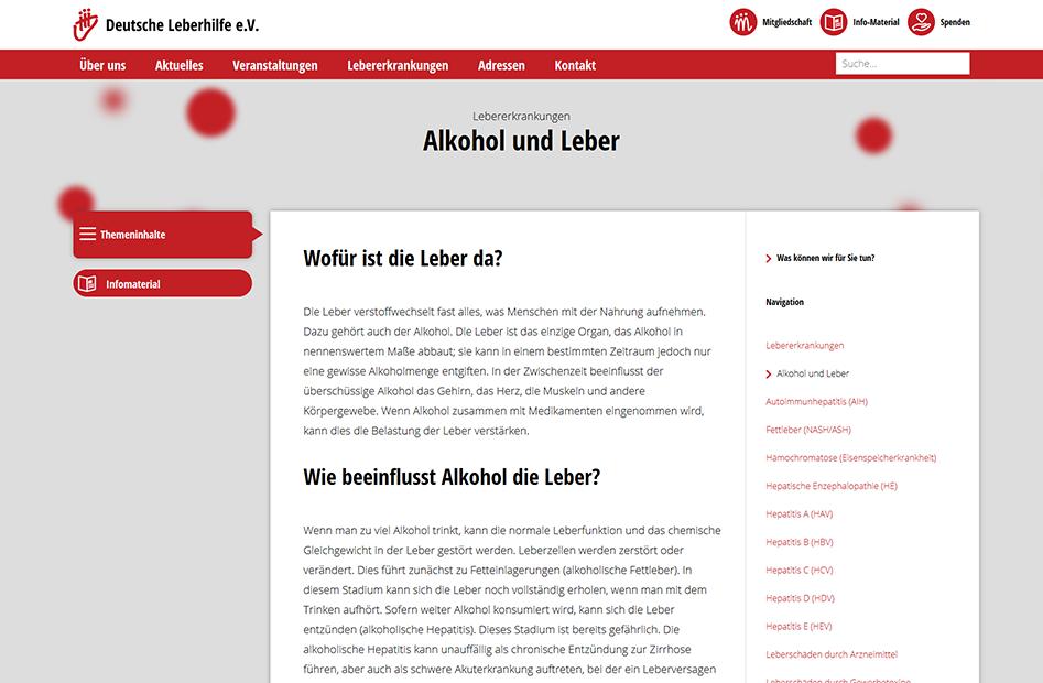 Alkohol und Leber Informationsseite der Deutsche Leberhilfe Website
