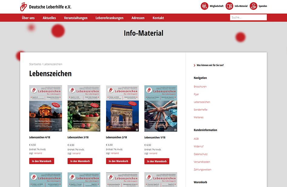 Shopseite mit Info-Material der Deutsche Leberhilfe Website