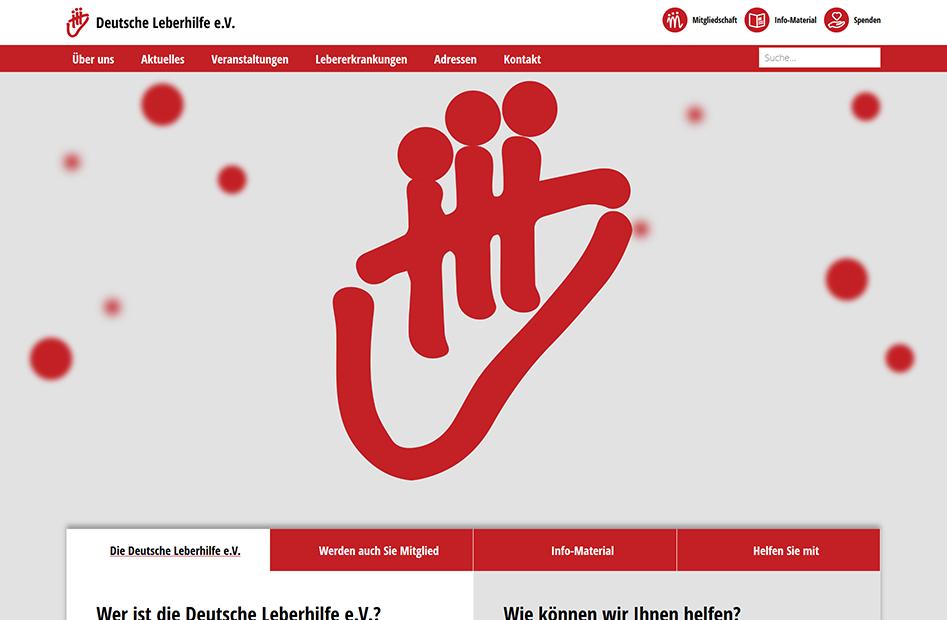 Startseite der Deutsche Leberhilfe Website