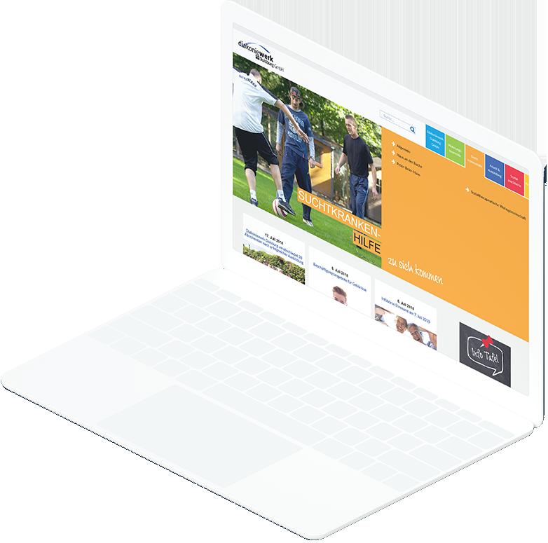Weißes Laptop zeigt Seite zum Fachbereich Suchtkrankenhilfe der Diakoniewerk Duisburg Website
