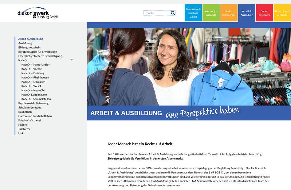 Unterseite des Fachbereichs Arbeit und Ausbildung des Diakoniewerks Duisburg