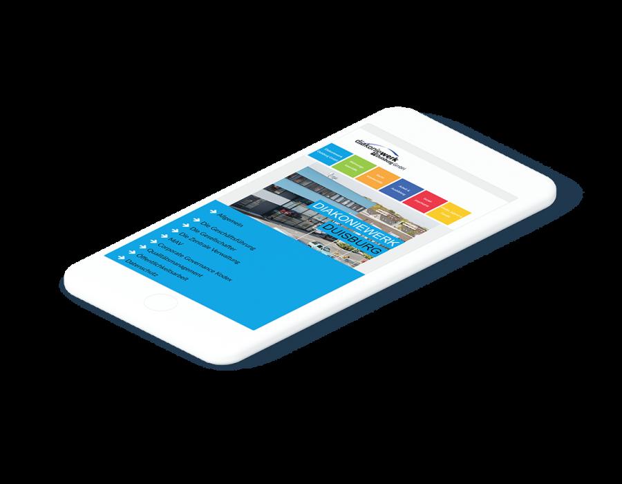 Weißes Smartphone zeigt die mobile Variante der Startseite des Diakoniewerks Duisburg