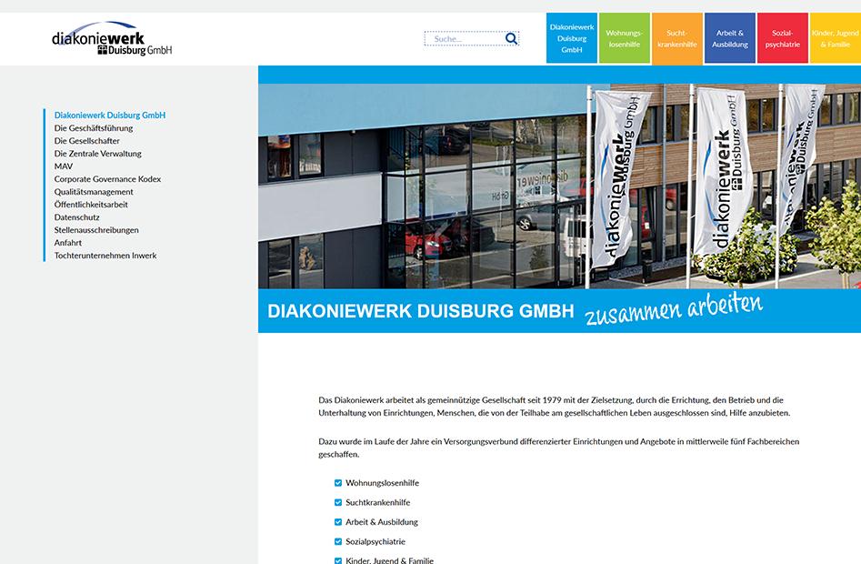 Unternehmensseite der Diakoniewerk Duisburg Website