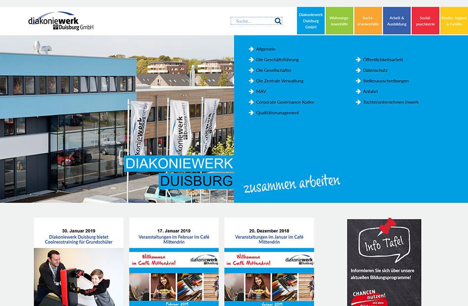 Startseite der Diakoniewerk Duisburg Website