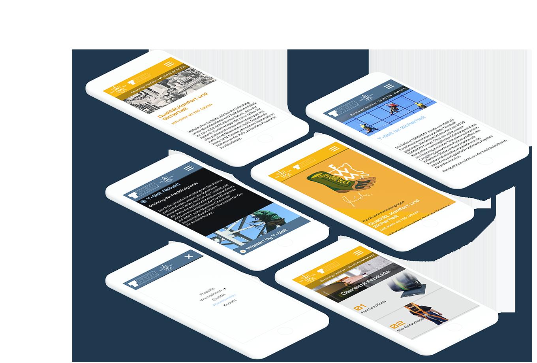 Mehrere Smartphones zeigen verschiedene Seiten der W.Funcke / T-Seil Websites