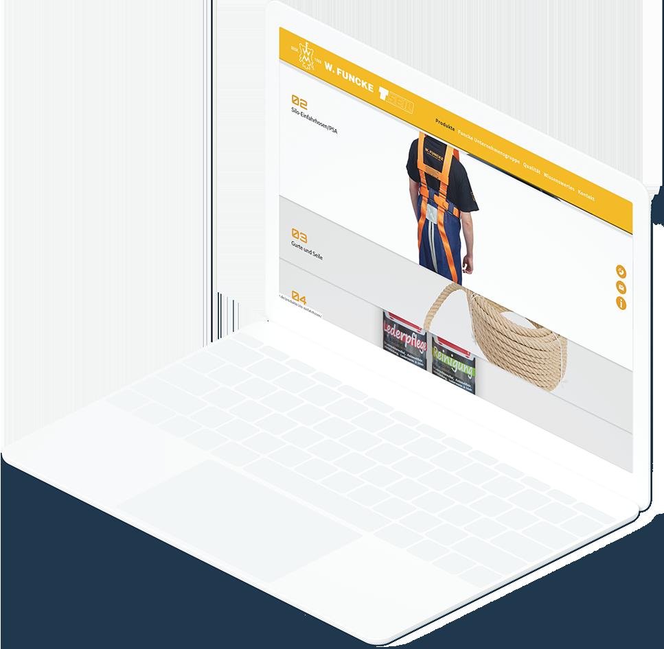 Weißes Laptop zeigt Produktkategorie Seite der W.Funcke Website