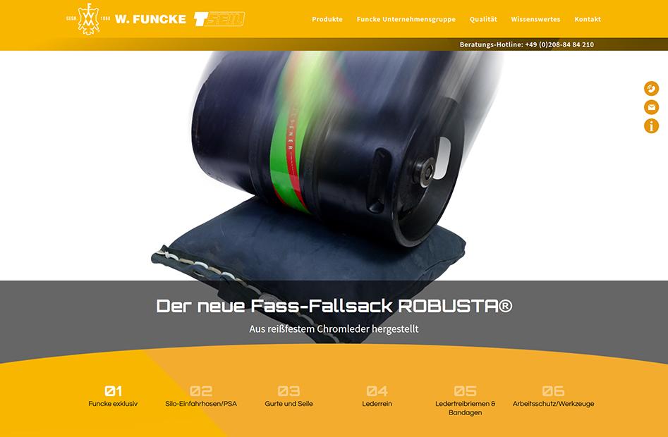 Übersichtsseite zu den Produktkategorien der W.Funcke Website