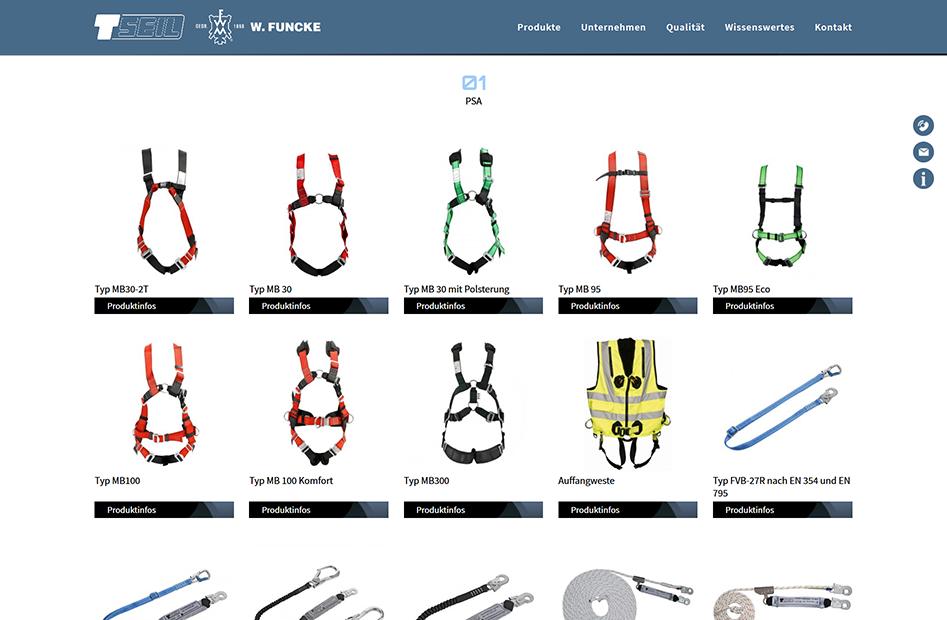 Produktseite zu PSA Equipment auf der T-Seil Website