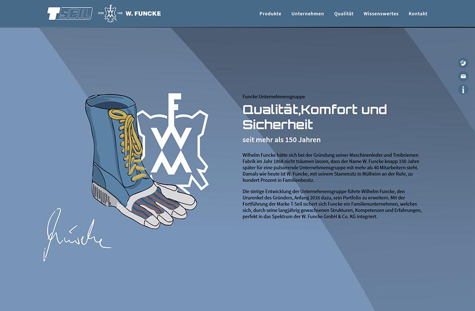 Startseite mit Unternehmensinformationen zur T-Seil Website