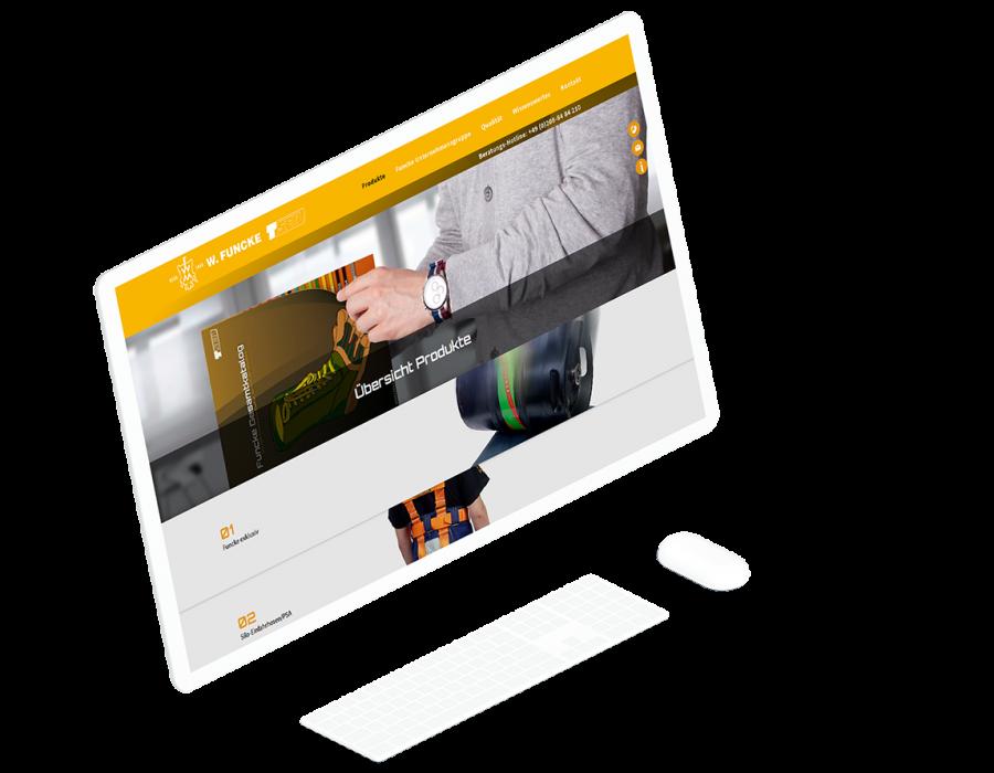 Großer, weißer Computermonitor zeigt die Produktübersichtsseite der W.Funcke Website