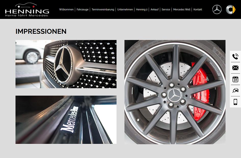 Impressionen von Mercedes Fahrzeugen der Henning-Automobil Website