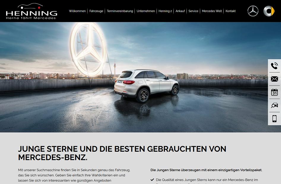 Junge Sterne Unterseite für Gebrauchtwägen der Henning-Automobil Website