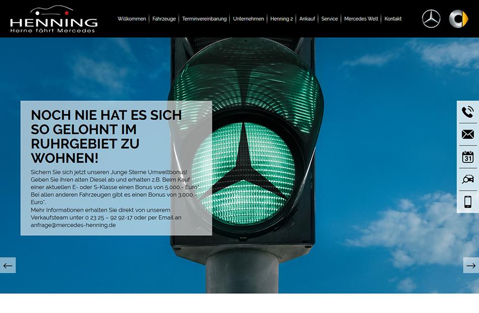 Startseite der Henning-Automobil Website