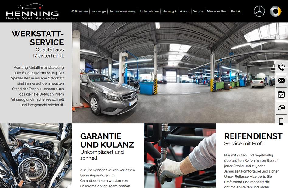 Werkstattservice-Seite der Henning-Automobil Website