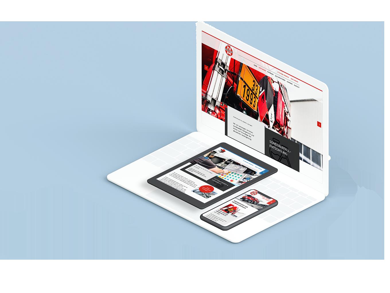 Weißes Laptop, schwarzes Tablet und schwarzes Smartphone zeigen unterschiedliche Seiten der Nadermann & Martin / Martin Entsorgung Website